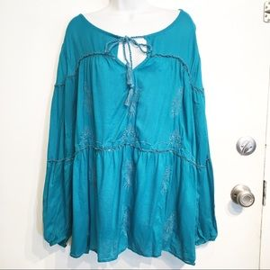 Lane Bryant Plus Size Teal Embroidered Boho Top